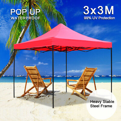 3x3M Gazebo Marquee Party Tent Outdoor Camping Garden Patio Canopy Shelter Red