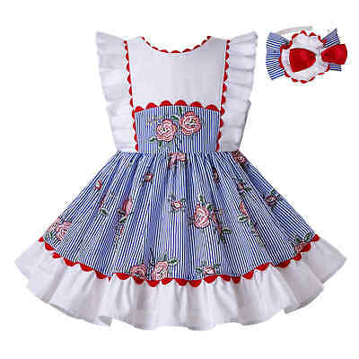 Kids Girls Spanish Striped Dress Sleeveless Floral Birthday Party Pageant 3-12Y