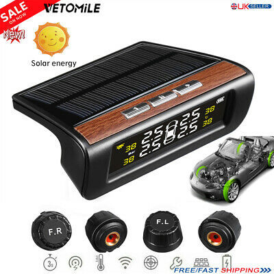 Wireless LCD Solar Car Tire Pressure Monitoring System 4 Sensor DIY TPMS Vehicle