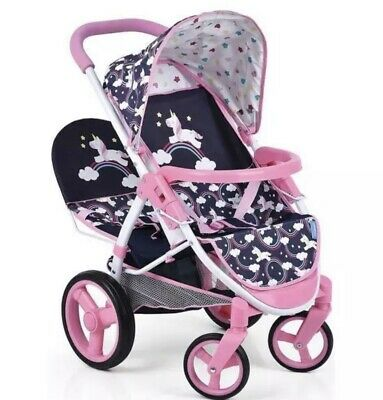 Magical Unicorn Girls Dolls Pram Deluxe Twin Double Stroller Buggy NEW Exclusive