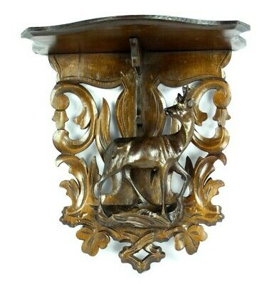 Antique Black Forest Carved Wood Wall Bracket Shelf with Deer [5302]