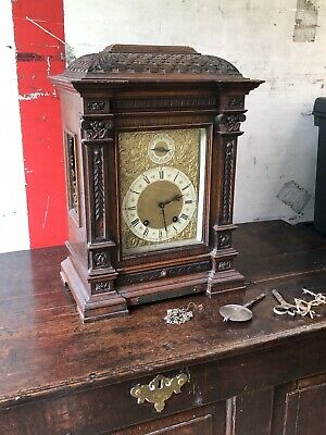 Antique English Carved Oak Bracket Clock, Military Interest