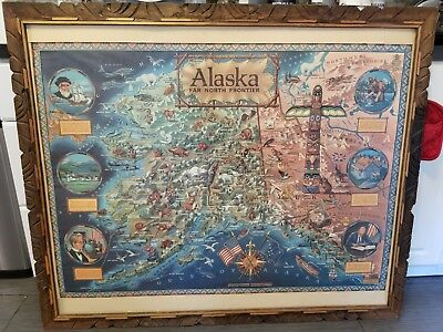 Vintage Alaska Far North Frontier Wall Map Yukon Gold Rush Kleng Rude 1959 40x48