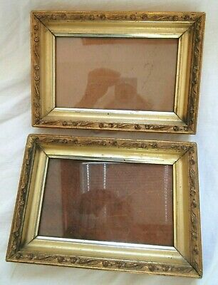 2  Antique Fit 4 X6.5 Lemon Gold Picture Frame Deep Wood Ornate Fine Art Country