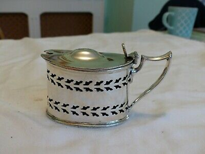 LARGE WALKER & HALL SILVER PLATE MUSTARD or JAM POT.256G WITH BLUE GLASS INSERT