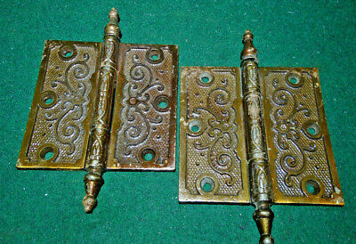 Pair Vintage Eastlake Hinges  4  X 4  Steeple Tops - Beautiful  (12325)