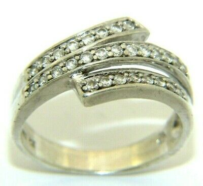 Ladies Womens 925 Sterling Silver & Clear CZ Crossover Ring UK Size R 1/2