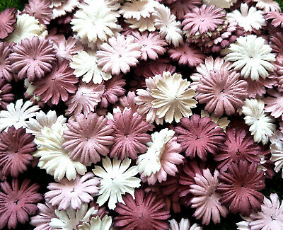 50 Pcs. Mixed Rosewood Tone & White Daisy Flowers mulberry paper for Craft & DIY