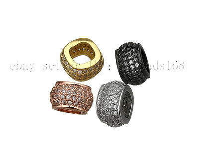 Cubic Zirconia Pave Big Hole Square Rondelle Bracelet Connector Charm Beads