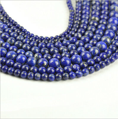 "Natural Lapis Lazuli Gemstone Round Beads 15"" 3mm 4mm 6mm 8mm 10mm 12mm"