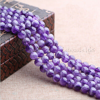 "Grade A Natural Lavender Amethyst Gemstone Round Beads 15.5""  4mm 6mm 8mm 10mm"