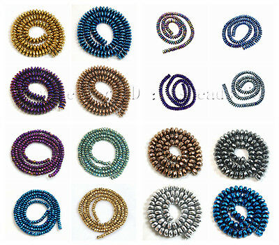 Hematite Gemstone Smooth Faceted Rondelle Spacer Beads 2mm 3mm 4mm 6mm 8mm 10mm
