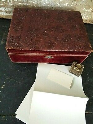 Antique Writing Lap Desk Portable Field Embossed Leather Glass Ink Well Bottle