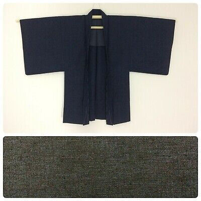 Japanese men's haori jacket for kimono, medium - large, blue wool (C2635)