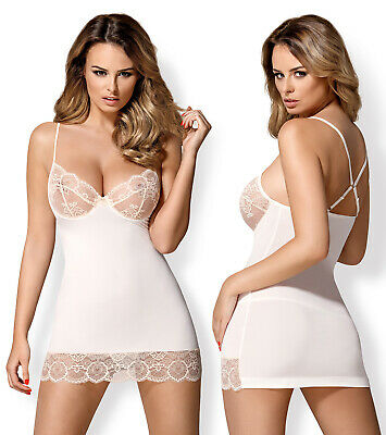 OBSESSIVE 874 Luxury Super Soft Underwired Chemise and Matching Thong Set