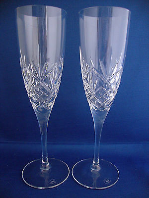 PAIR Royal Doulton Hellene Champagne Flute Glass - 8 1/4 inch Tall - Signed