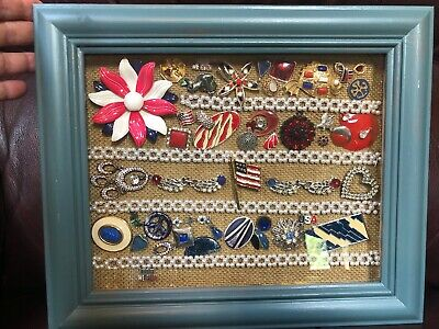 Vintage Costume Jewelry Collage Framed ~ Americana Patriotic Red White Blue OOAK