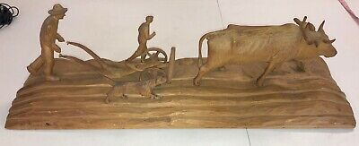"Vintage Black Forest Carving Farmers Plowing Sculpture Signed & Tag 28"" Quality"