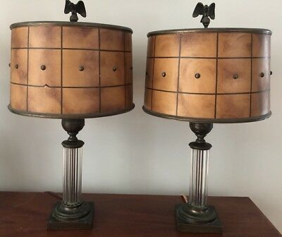 Antique Pair Art Deco Glass Rod Eagle Gilbert Rohde? Lamp Shades Not Included