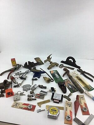 Junk Drawer Lot: Tools, Vintage, Garage Champion Anvil Stanley Vise Lock
