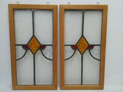 "Vintage Pair Leaded Stained Glass Panels Wood Frame Art Deco Style 10"" x 19"" Ea."