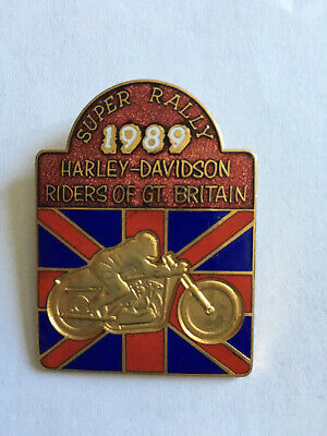 Ancien Badge Broche Super Rally HARLEY DAVIDSON 1989 RIDERS OF GT. BRITAIN