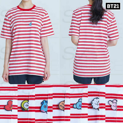BTS BT21 Official Authentic Goods Short Sleeve Stripe T-Shirts Red