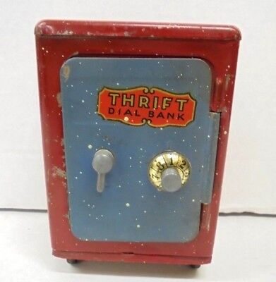 Vintage Metal Thrift Dial Safe Bank on Wheels Still Coin Bank Red with Gray Door