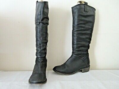 Next Black Leather Mid Height Pull On Boots Uk 6 Eu 39 (2090)
