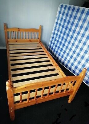 Solid Pine Single Bed Frame Wooden 3ft Standard IKEA SULTAN LADE slats