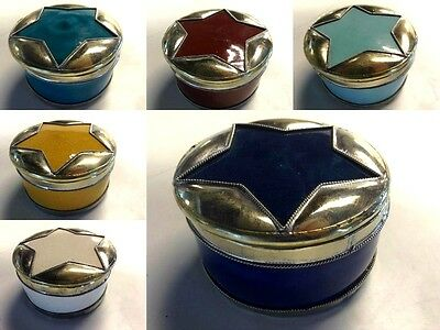 Moroccan Star Small Lidded Canister Trinket Glazed Terracotta & Silver Alloy LG