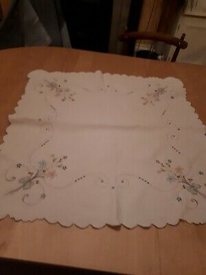 "Vintage Hand Embroidered Tablecloth, 33"" Square, White Linen/Pastel Embroidery"