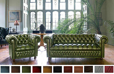New Chesterfield Sofa 3 Seater Genuine Leather Settee Couch Antique Green