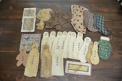 *UNFINISHED* Crafter Projects Ornie Primitive Folk Art Snowman CHRISTMAS LOT [A]