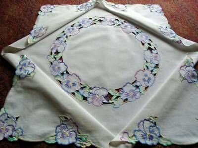 Gorgeous Vintage Hand Embroidered Linen Tablecloth~Pretty Pansies~Lovely Colours
