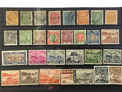 Collection of old stamps on stock card ICELAND  inc early issues