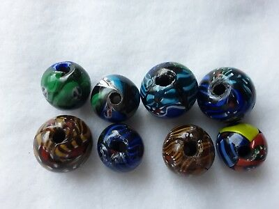 Antique Appraised Early 20th Century Handmade Murano Glass Mosaic Face Beads