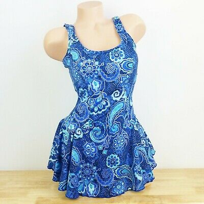 0d38117adf Rose Marie Reid One Piece Bathing Suit Sz 14 Blue Floral Swim Dress