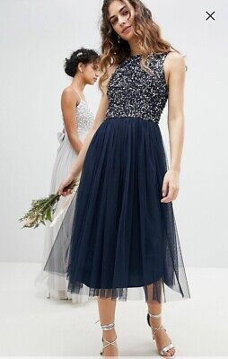 Asos Navy Blue Sequin Bridesmaid Evening Dress With Chiffon Skirt Maya Size 12