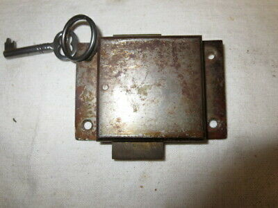 Vintage Steel Lock with Brass Slide and Key  for Cabinet-Desk-Drawer