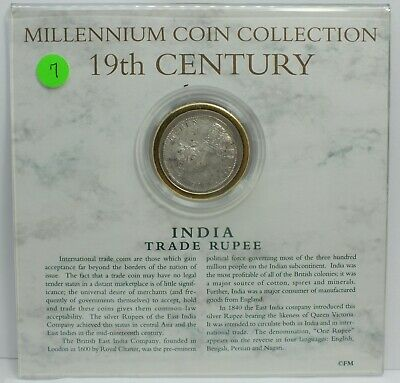 Millennium Collection India Trade Rupee 19th Century Coin Queen Victoria JG110