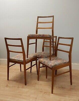 Set of 4 Mid Century teak dining chairs by Richard Hornby, Danish style vintage.