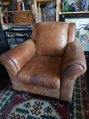 Large Distressed Nubuck Leather Vintage Club Chair Armchair