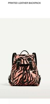 88f9ac03 ZARA PINK LEATHER Backpack With Wolves Detail Ref. 4084/204 Nwt ...