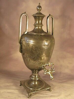 Antique Georgian Regency Period English Silver Plate on Pewter Samovar London