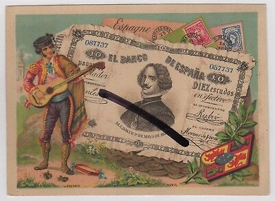 Spain J Bognard Colour Printed Trade Card Spanish Guitar interest Banknote Money