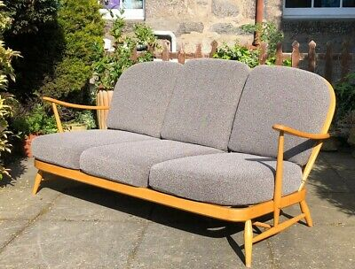 Vintage Retro Ercol Blonde 203 3 Seater Sofa Original Upholstery Great Condition