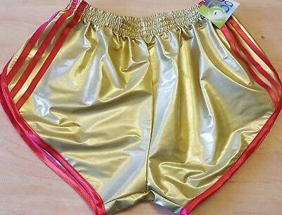 Nylon Satin Sprinter Shorts S to 4XL Two Tone Red//Black with Red