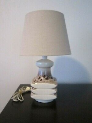 Vintage Very Retro Ivory & Brown Ceramic Base Table Lamp With Ivory Shade
