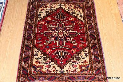 ON SALE Circa 1940's Persian Heris Wool Rug Authentic Handmade Hand Knotted